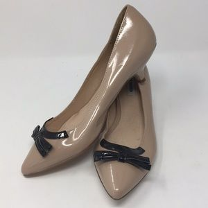 Nude and Black Patent Pointed Toe Kitten Heel 8
